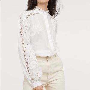 H&M dedicated cut out embroiled shirt blouse white